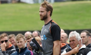New Zealand's Kane Williamson during a Maori welcoming ceremony before nets at Bay Oval.