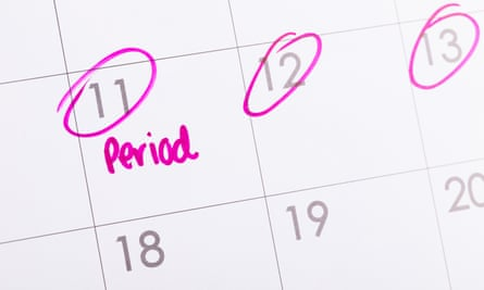 Period due date marked on calendar