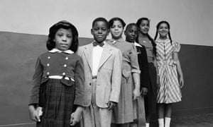 Six of the children involved in the landmark case, with Linda Brown third from left.