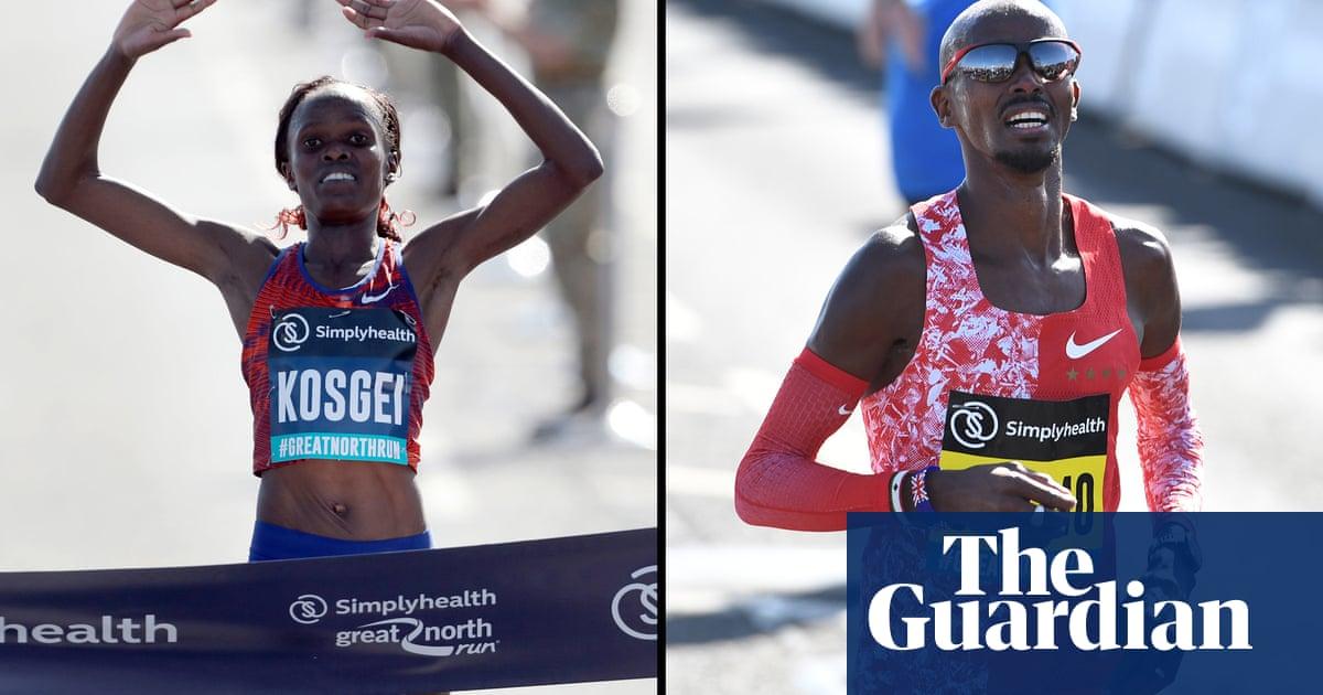 Kosgei breaks half marathon record at Great North Run as Farah wins sixth title