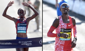 Brigid Kosgei and Sir Mo Farah, winners of the women's and men's races at the Great North Run