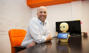 Cory Kidd, CEO and founder of Catalia Health, pictured with Mabu.