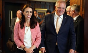 Jacinda Ardern with the Australian prime minister, Scott Morrison