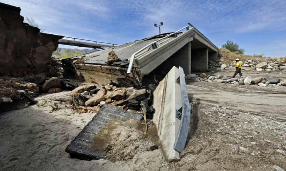 A section of Interstate 10 in California collapsed after heavy rain.