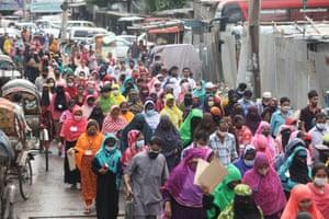 Bangladeshi workers block roads in Dhaka to demand four months' salary arrears and Eid-ul-Fitr bonuses