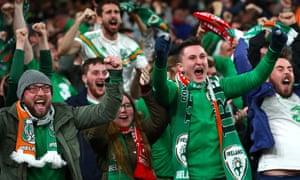Ireland fans celebrate after David McGoldrick scored the equalising goal.