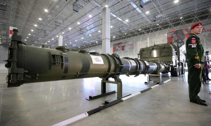 A 9M729 missile on display during a media briefing in Kubinka, Russia.
