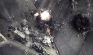 An image from the Russian Defense Ministry web site shows the impact of an airstrike in Syria.