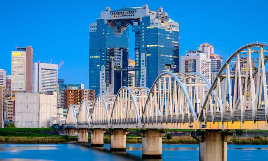 Osaka skyline and the the Yodogawa River, Japan