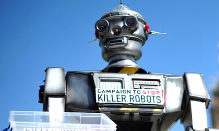 """A mock """"killer robot"""" pictured in central London during the launching of a campaign to stop """"Killer Robots"""" which calls for the ban of lethal robot weapons that would be able to select and attack targets without any human intervention."""