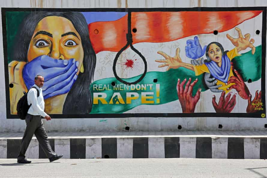 'The irony is that without wide media coverage there is no possibility of cultural shift.' A mural in Jammu, Kashmir.