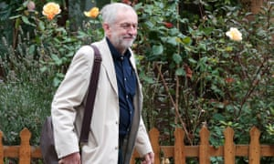 Jeremy Corbyn leaves his London home on Sunday.