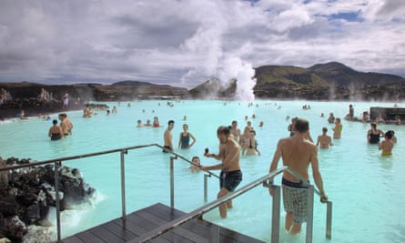People bathing in the relaxing waters of the Blue lagoon, Grindavik, South West Iceland.