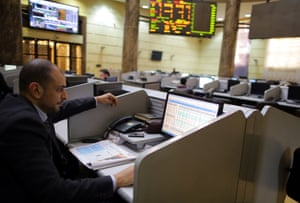 The Egyptian stock exchange in Cairo.
