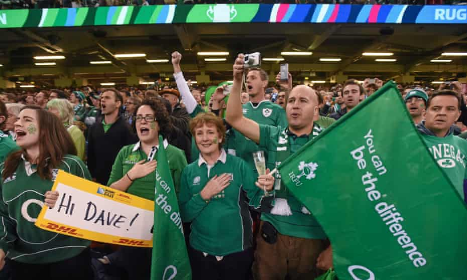 Fans singing Ireland's Call at the 2015 Rugby World Cup quarter-final in Cardiff.