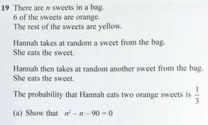 How to solve the maths GCSE question about Hannah's sweets