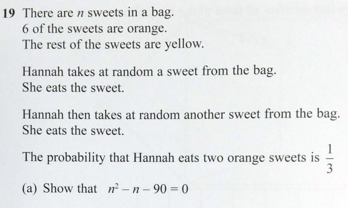 How to solve the maths gcse question about hannahs sweets that went how to solve the maths gcse question about hannahs sweets that went viral science the guardian ccuart Image collections
