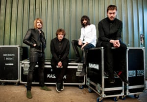 Kasabian (from left, Chris Edwards, Ian Matthews, Pizzorno and Tom Meighan) on tour in 2014.
