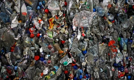 Crushed plastic bottles at a recycling facility