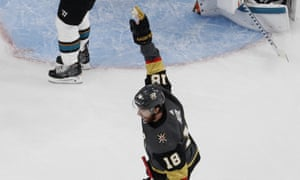 Vegas Golden Knights left wing James Neal celebrates after his team scored against the San Jose Sharks.