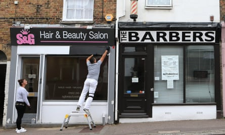A hair salon in Kent prepares to reopen.