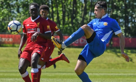 Jhai Dhillon (right) in action for Panjab FA in a 2018 friendly against Liverpool Under-23s.