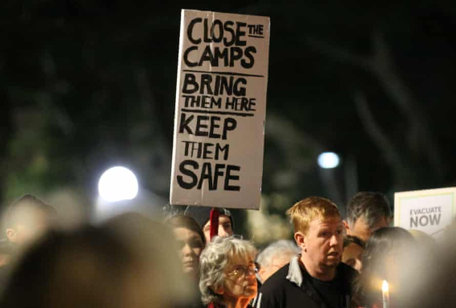 A rally calling for closure of Australia's offshore detention centres, held in Sydney on 19 July.