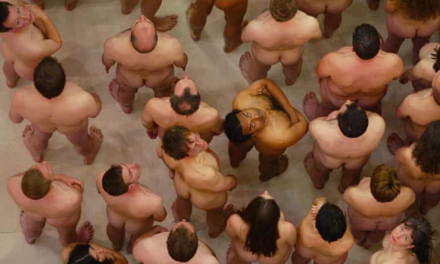 Volunteers for one of Spencer Tunick's works at Selfridge's department store in London