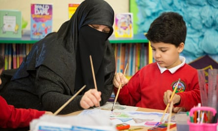 Muslim woman and child painting