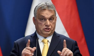 Viktor Orbán, Hungary's prime minister, at his annual press conference in Budapest, in which he claimed a 'global Soros network' was against Boris Johnson.