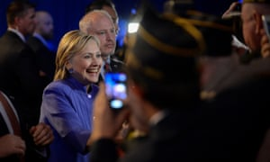 Democratic presidential nominee Hillary Clinton greets members of the audience following an address to the National Convention of the American Legion in Cincinnati, Ohio, U.S., August 31, 2016. REUTERS/Bryan Woolston