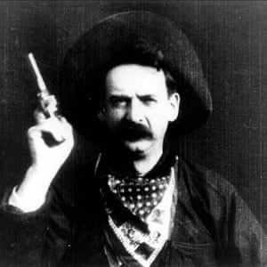 Justus D Barnes in The Great Train Robbery (1903).
