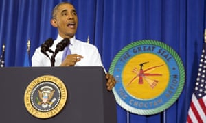 President Obama speaks on broadband access at the Choctaw Nation in Durant, Oklahoma.
