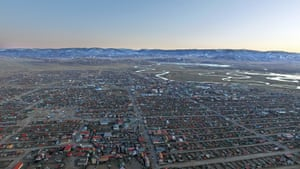 A view of Murun taken from a drone flying over the city