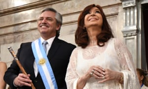 Fernández and the new vice-president, former president Cristina Fernández de Kirchner, pose during the presidential inauguration in Buenos Aires.