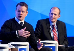 US actor Matt Damon speaks next to co-founder and CEO of Water.org, Gary White.