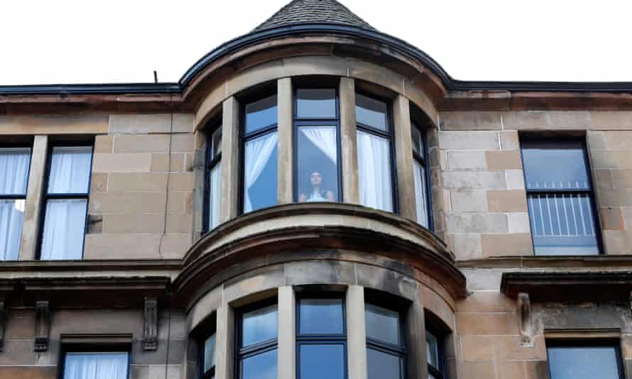 A student at Glasgow University's Hillhead Street residences. Students are banned from visiting family or hospitality venues.