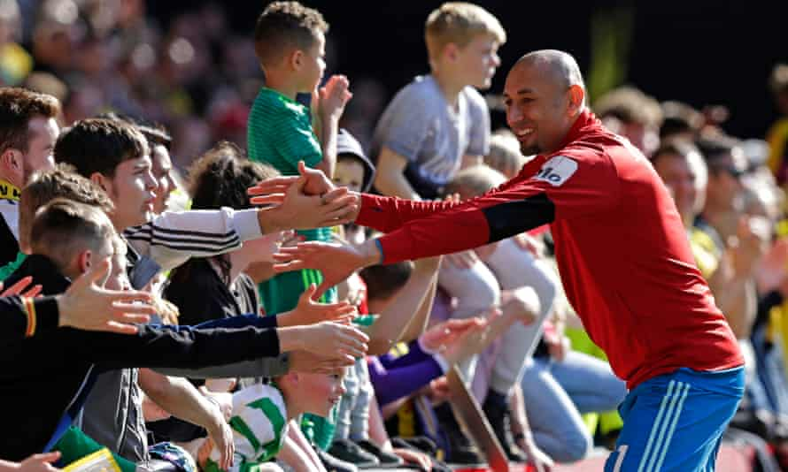 Heurelho Gomes greets the Watford crowd after Sunday's 4-1 home defeat to West Ham, when he was on the bench as usual.
