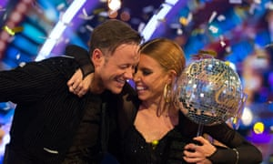 Stacey Dooley celebrating winning Strictly Come Dancing with Kevin Clifton