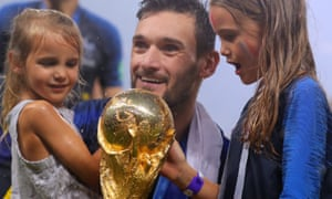 Hugo Lloris and his children celebrate France winning the World Cup.