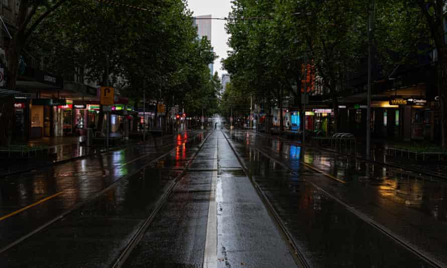 An empty street scene on Swanston street on March 29, 2020 in Melbourne, Australia.