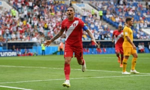 Paolo Guerrero of Peru celebrates after scoring his team's second goal,