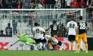 Willy Boly scores the winning goal for Wolves against Besiktas in the Europa League.