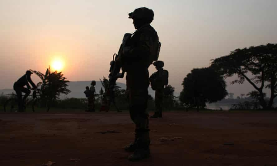 A French soldier at daybreak in Bangui, Central African Republic, in 2013.