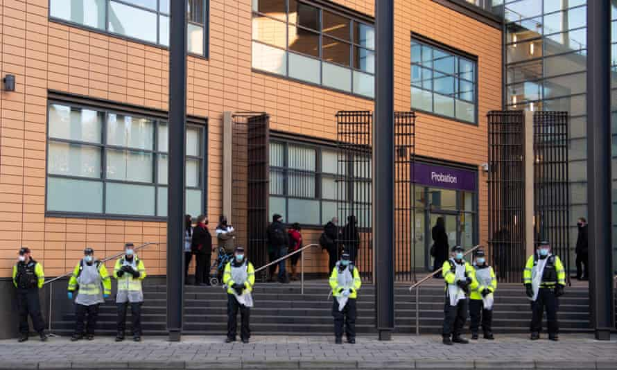 Police outside Bristol magistrates court