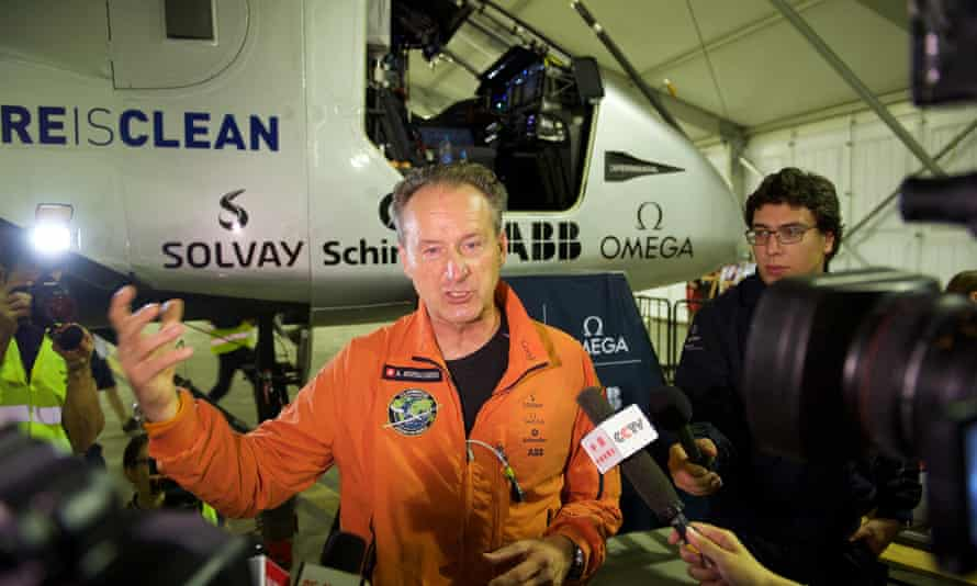 Swiss pilot Andre Borschberg, 62, speaks to the press before his departure from Nanjing Airport.