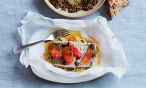 Thomasina Miers' pollock and blood orange en papillote.