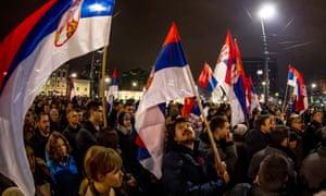 Anti-government protesters rally in Belgrade.