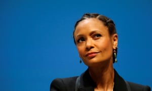 Thandie Newton speaking at an event in Cannes