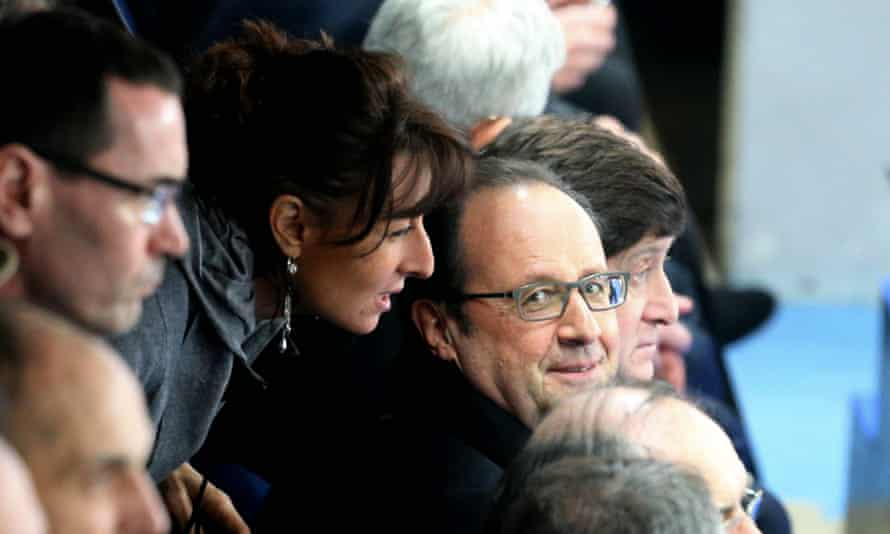 Adviser Nathalie Iannetta with President Francois Hollande during the friendly between France and Russia at the Stade de France this year.